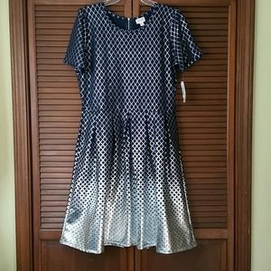 Lularoe Amelia Dress Navy w/ Silver Diamond 3X NWT